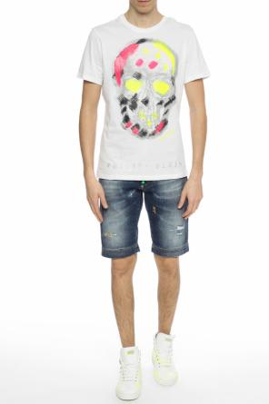 Neon-appliqued denim shorts od Philipp Plein