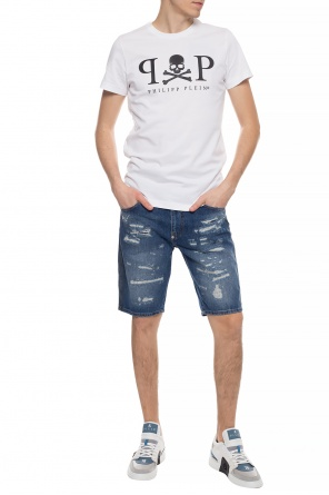 Stonewashed denim shorts od Philipp Plein