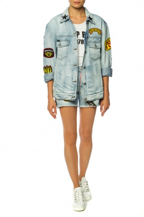 Patched denim shorts od Philipp Plein