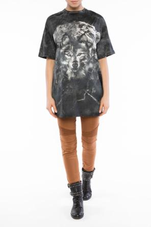 Patterned t-shirt with holes od Balmain