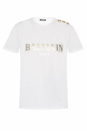 T-shirt with decorative buttons od Balmain