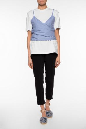 T-shirt with striped yoke od MSGM