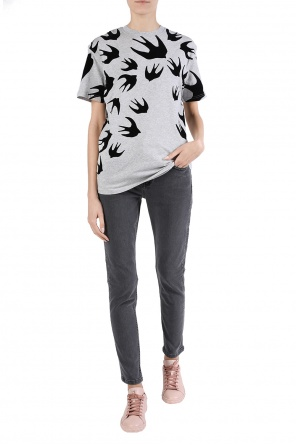 T-shirt with velvet swallows od McQ Alexander McQueen