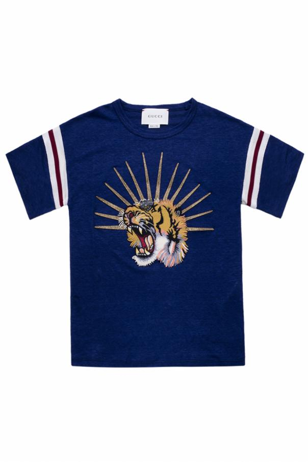 24e5a238 Tiger head-patched T-shirt Gucci Kids - Vitkac shop online