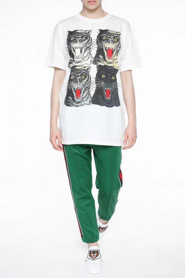 cbc49f62d15 Tiger heads-printed T-shirt Gucci - Vitkac shop online