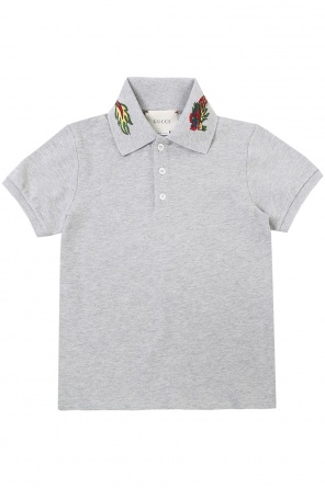 Embroidered collar polo od Gucci Kids