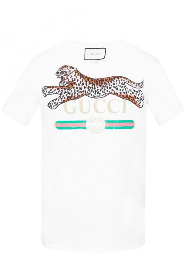 f4b0c25c6a1 Leopard-appliqué T-shirt Gucci - Vitkac shop online