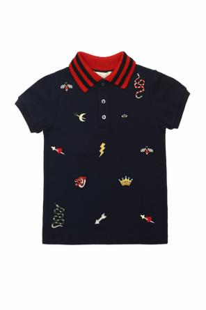 Embroidered polo od Gucci Kids