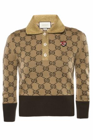 Patched wool polo od Gucci
