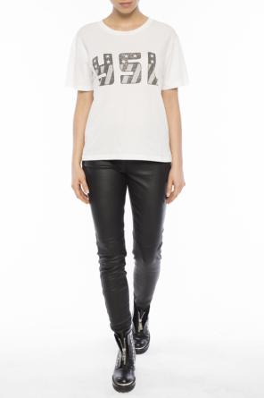 Cropped printed t-shirt od Saint Laurent Paris