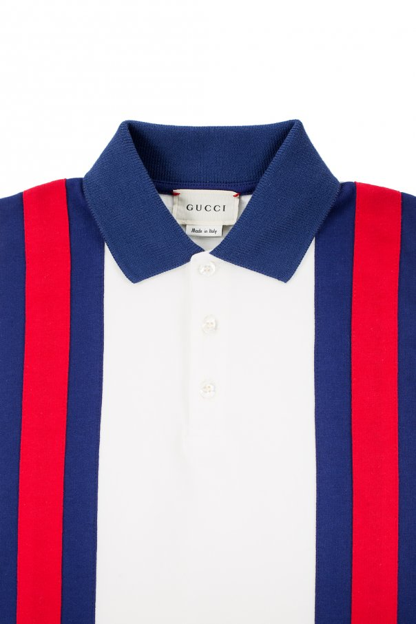 Polo shirt with 'web' stripes od Gucci Kids