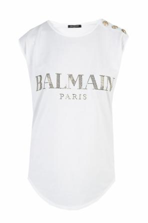 Sequinned logo top od Balmain
