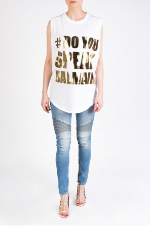 Inscription-printed top od Balmain
