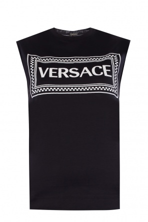Logo-embroidered top od Versace