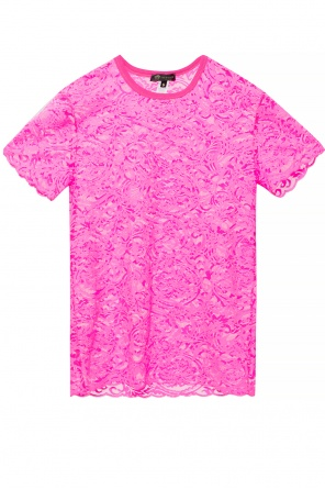 Lace-trimmed t-shirt od Versace