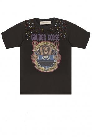 T-shirt z logo od Golden Goose