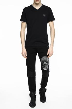 Skull-patched t-shirt od Philipp Plein
