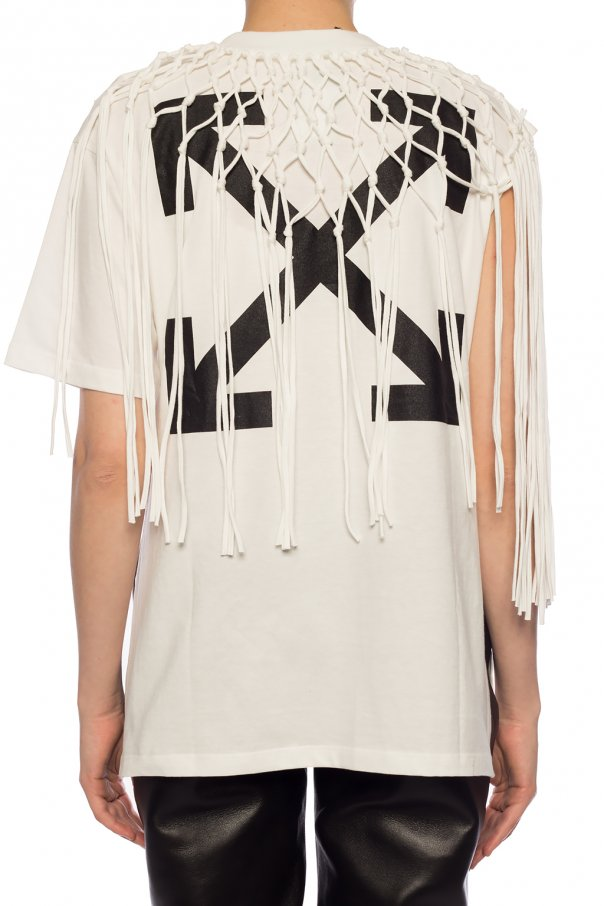 Off-White T-shirt z frędzlami PEcgDL3R