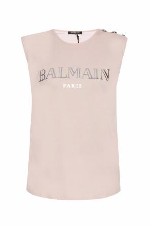 Logo-printed sleeveless top od Balmain