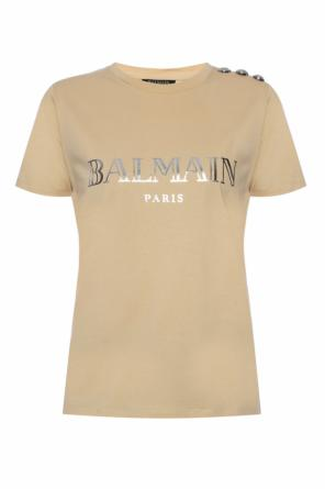 Button-embellished t-shirt od Balmain