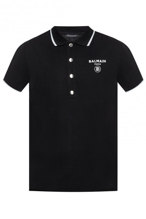 Polo shirt with velvet logo od Balmain