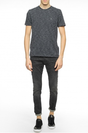 Logo-embroidered striped t-shirt od Allsaints