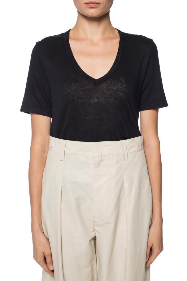 Linen v neck t shirt isabel marant etoile vitkac shop online for V neck t shirt online shopping