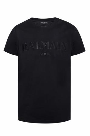 T-shirt with embroidered logo od Balmain
