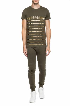 T-shirt with a printed logo od Balmain