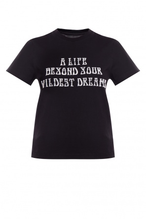 T-shirt with velour lettering od Amiri