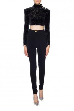 Velvet top with band collar od Balmain