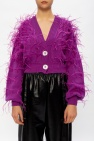 The Attico Cardigan with ostrich feathers