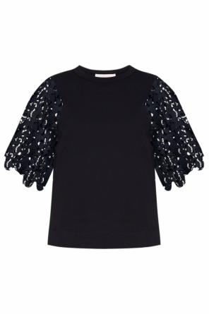 T-shirt with lace sleeves od See By Chloe