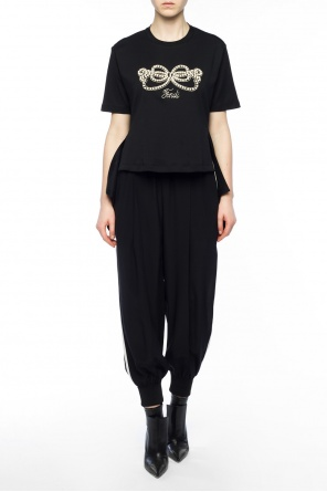 Embroidered asymmetrical top od Fendi