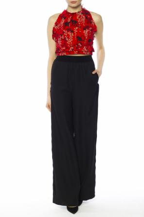 Lace-up cropped top od Valentino Red