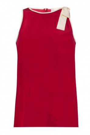 Lacing detail silk top od Valentino Red