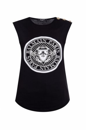 Sleeveless top with logo od Balmain