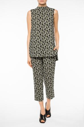 Patterned top with slit od Marni
