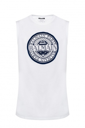 Branded sleeveless t-shirt od Balmain