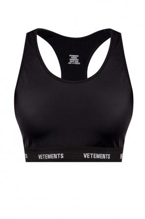 Biustonosz sportowy z wyszytym logo od Vetements