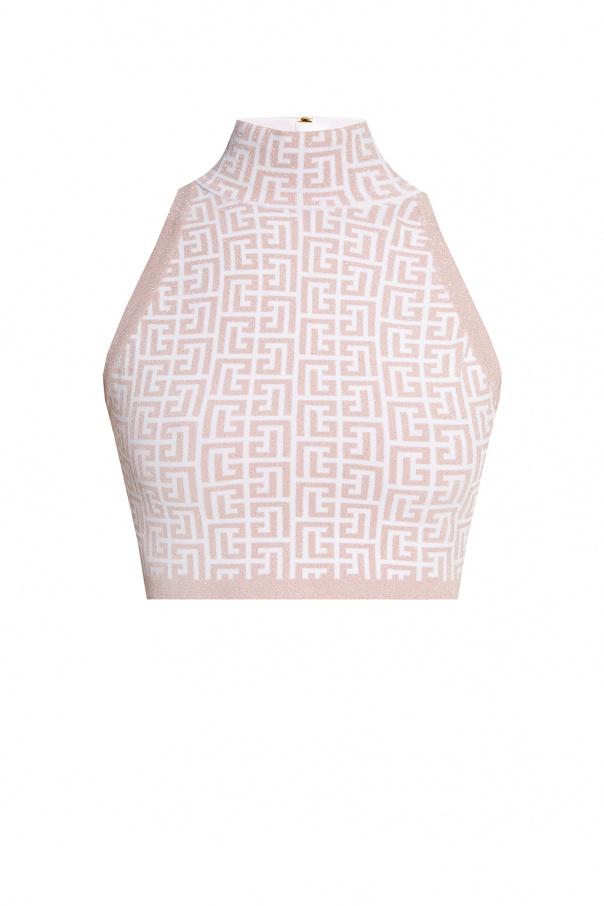 Balmain Crop top with standing collar