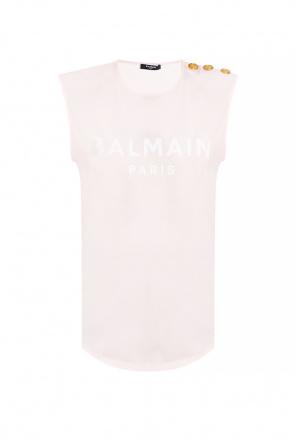 Sleeveless top with logo od Balmain