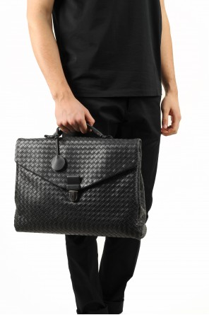 Large grey intrecciato briefcase od Bottega Veneta