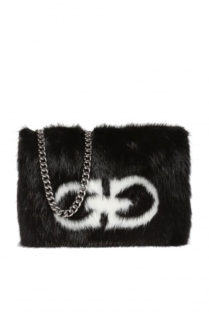 Mink fur-trimmed shoulder bag od Salvatore Ferragamo