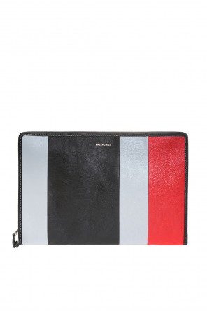 Clutch bag with a striped pattern and logo od Balenciaga