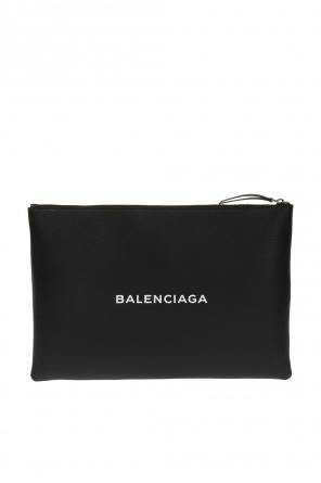 Leather clutch with logo od Balenciaga