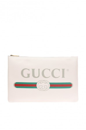 Web' striped clutch with a logo od Gucci