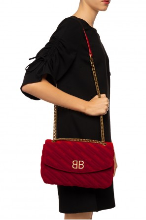 Quilted shoulder bag with an embroidered logo od Balenciaga
