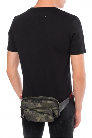 Waist bag with a camo and skeleton motif od Alexander McQueen