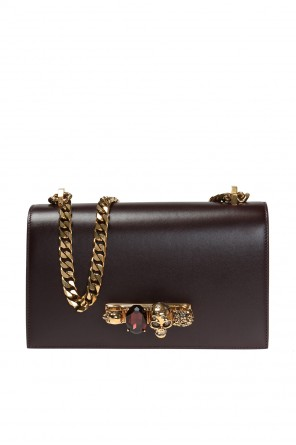 Jewelled satchel'  shoulder bag with a logo od Alexander McQueen